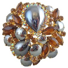 Vintage Gorgeous DeLizza & Elster D&E Juliana Hematite and Topaz Rhinestone Pin