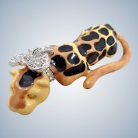 Whimsical Kenneth Lay Lane KJL Leopard with Crystal Bow Pin