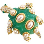 KENNETH LANE KJL Jade Resin Sim Pearls & Crystals Turtle Pin