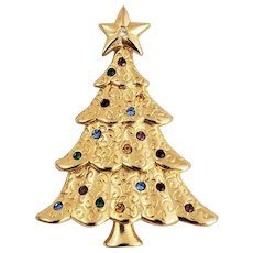 Vintage LIZ CLAIBORNE Multi Rhinestone Scrolls Christmas Tree Pin