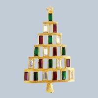 Vintage LIA Six Row Rhinestone Christmas Tree Pin