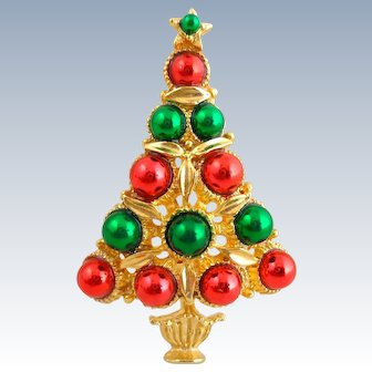 HTF Vintage LIA Red Green Ornaments Christmas Tree Pin