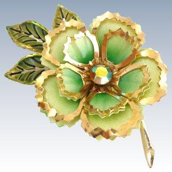 Vintage Layered Enamel Flower Pin