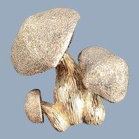 Vintage LES BERNARD Sterling Silver Vermeil Trio Of Mushrooms Pin