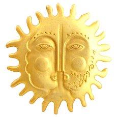 Vintage MAXINE DENKER Winter Summer Sun Face Pin