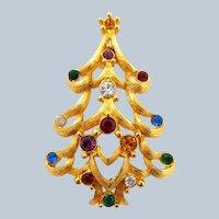 Vintage MONET Open Heart Christmas Tree Pin