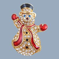 Vintage MONET Rhinestone & Enamel Holiday Snowman Pin