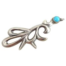 Native American Sterling Silver Sand Cast Turquoise Bird Pin