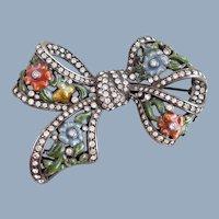 Vintage NOLAN MILLER Enamel Flowers Crystal Bow Pin