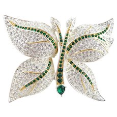 Stunning Vintage NAPIER Pave Crystal Butterfly Pin Book Piece