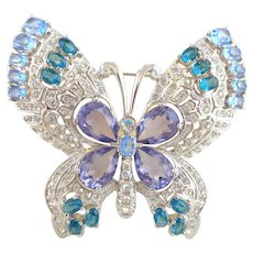 Exquisite Jewel Encrusted NOLAN MILLER Crystal Rhinestone Butterfly Pin