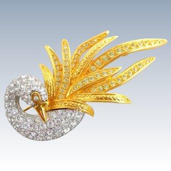 Estate Stunning NOLAN MILLER Pave Crystal Swan Pin