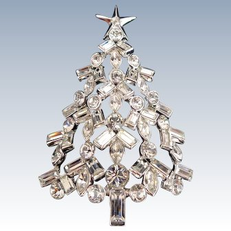 Rare NOLAN MILLER Crystal Christmas Tree Pin