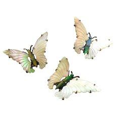 Vintage OCEAN TREASURES Sterling Vermeil Butterfly Trio Pins