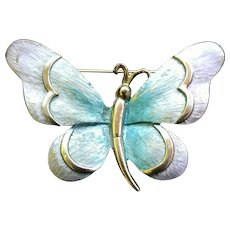 Vintage PASTELLI Pink Teal Butterfly Pin