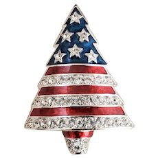 CHRISTOPHER RADKO Patriotic American Flag Liberty Christmas Tree Pin Orig Box