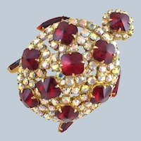 Fabulous Vintage Red Rivoli & AB Rhinestone Turtle Figural Pin