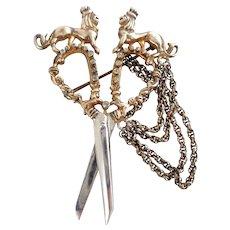 Rare Vintage NETTIE ROSENSTEIN Sterling Silver Renaissance Revival Heraldic Scissors Pin