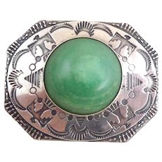 Vintage NATIVE AMERICAN Sterling Silver Green Onyx Stamped Symbols Pin