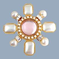 Vintage XL Designer ST JOHN Simulated Pearl Maltese Cross Pin