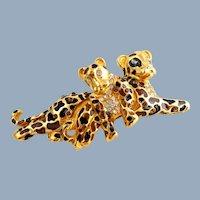 Vintage ST JOHN Leopard & Cub Trembler Enamel Crystals Pin