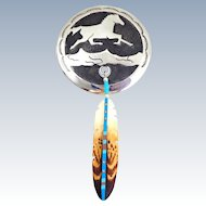 Signed Native American Sterling Silver Horse & Painted Bone Feather Pin Pendant