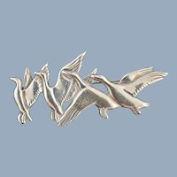 Vintage Sterling Silver HAND & HAMMER deMatteo Flying Geese Pin