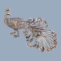 Ornate Vintage Sterling Silver Marcasite Peacock Pin