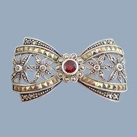 Vtg Sterling Silver Marcasite & Garnet Bow Tie Pin