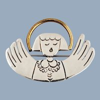 Vintage Sterling Silver & Brass Singing Angel Pin