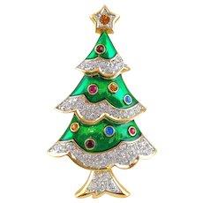 SWAROVSKI Swan Signed Green Enamel Pave Crystal Christmas Tree Pin