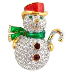 Signed SWAROVSKI Swan Mark Holiday Snowman Pin
