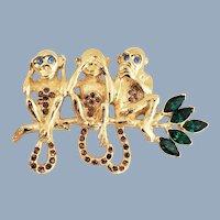 Vintage IOB 1996 TRIFARI Hear Speak See No Evil Three Monkeys Pin