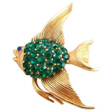 Vintage TRIFARI Green Rhinestone Angel Fish Pin