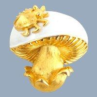 Vintage TRIFARI Dimensional Enamel Ladybug on a Mushroom Pin
