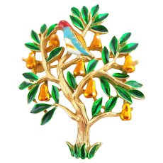 Vintage TRIFARI Partridge in a Pear Tree Enamel Figural Pin