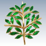 Vintage TRIFARI Enamel Tree of Life Pin