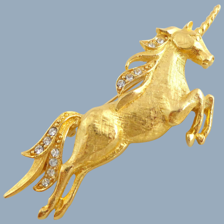 Vintage TRIFARI Figural Rhinestone Accented Leaping Unicorn Pin : River  Road Collectibles | Ruby Lane