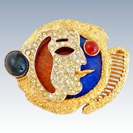 "Vintage 1960's VENDOME Cubist Georges Braque ""Le Fumeur"" Smoker Pin"