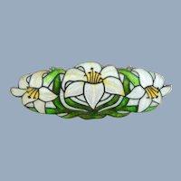 Early WATSON Sterling Silver Cloisonne Enamel Lilies Pin