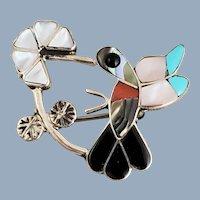 ZUNI Signed Sterling Silver Inlay Hummingbird Pin Pendant
