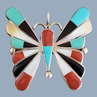 Zuni Signed Sterling Silver Multi-Stone Inlay Butterfly Pin Pendant