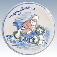 "LOUISVILLE STONEWARE ""Gaggle of Geese"" Santa Christmas 10"" Plate"