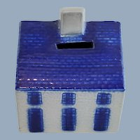 1992 ELDRETH Pottery Salt Glazed Blue Gray Cottage House Coin Bank
