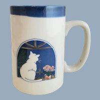 Hand Crafted OTAGIRI Cat on a Window Sill Tall Mug