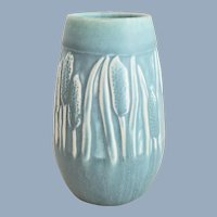 Vintage 1949 ROOKWOOD Pottery Blue Green Cattails Vase #2592
