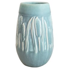 Vintage 1949 ROOKWOOD Pottery Blue Green Cattails Vase #2592