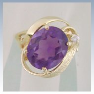 14K Gold Amethyst & Diamond Cocktail Ring Estate