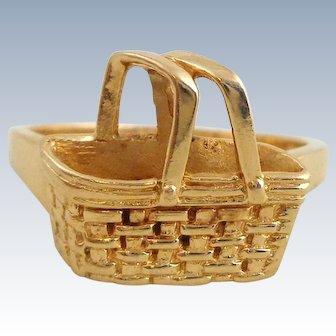 Rare 14K Gold LONGABERGER Basket Ring Size 7