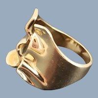 Estate 14k Gold Free Form Sculptured Ring Sz 7